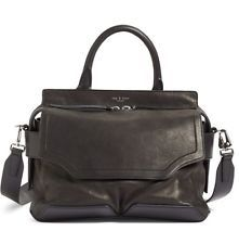 RAG AND BONE SMALL PILOT LAMBSKIN LEATHER SATCHEL SHOULDER BLACK