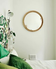 Break up empty walls and create a sense of space with well-positioned mirrors Fall Bedroom, Bedroom Green, Cozy Bedroom, Modern Bedroom, Comedor Office, Bedroom Decor On A Budget, Ikea Mirror, Best Home Interior Design, Neutral Bedrooms