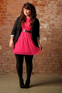 love the red and belt and black tights for work -- such a cute outfit for work or a date night