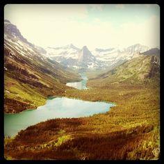 Glacier National Park: Cosley Lake, Glenn's Lake and Pyramid Peak.