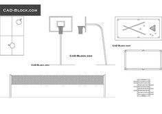 This AutoCAD file contains: a basketball hoop front and side view, pool tables in plan, a volleyball net, a table tennis in plan, a foosball table. Volleyball Net, Basketball Hoop, Pool Table, A Table, In Plan, How To Plan, Cad Blocks Free, Badminton Court, Sports Equipment