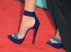 Purple platform heels.