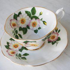 Royal Albert Teacup and Saucer Wild Roses Tea by TanglewoodTeaShop