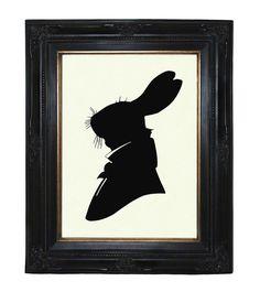 Silhouette Rabbit Gentleman Antler Victorian Steampunk art print