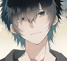 Smile doesn't mean i'm happy, Smile too means sad I just want you to recognise it Anime Boy Smile, Hot Anime Boy, Sad Anime, Manga Anime, Anime Art, Anime Boys, Yandere, Anime Style, Anime Guy Blue Hair