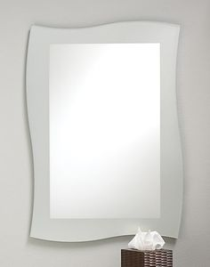 """Frameless Frosted Wave Mirror - #348 24""""w, 3/8""""d, 34""""h"""