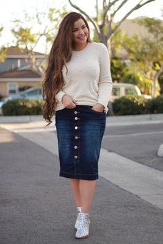 Our newest sweater, Eleanor is beautifully adorned with pearls in a lovely cream. Dark wash Reagan skirt also available! www.theskirtsociety.com