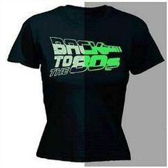 "Ladies ""Back to the 80s"" glow-in-the-dark T-shirt"