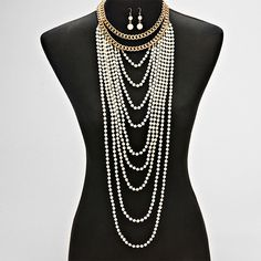 Lavish Pearl of Drapes Drop Earring & Necklace Set