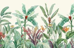 Green Vintage Tropical Minimalist Wallpaper Mural   Hovia