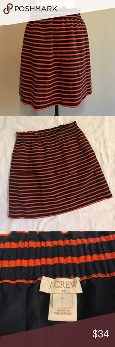 "J.Crew Linen Skirt Size 6 Navy & Orange J.Crew Linen Skirt Size 6  Navy & Orange  Measurements  18"" Length  14"" Waist  Excellent used condition  Has pockets J. Crew Skirts"