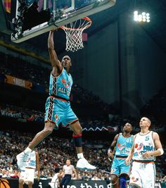 SAN ANTONIO- FEBRUARY 10: Michael Jordan #23 of the Chicago Bulls dunks the ball against the Western Conference All-Star Team at the 1996 NBA All-Star Game on February 10, 1996 at the Alamodome in San Antonio, Texas. NOTE TO USER: User expressly acknowledges and agrees that, by downloading and/or using this Photograph, User is consenting to the terms and conditions of the Getty Images License Agreement. Mandatory Copyright Notice: Copyright 1996 NBAE (Photo by Nathaniel S. Butler/NBAE via…