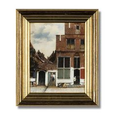 'The little Street' -  Johannes Vermeer, 'The little Street' (c.1658)  Oleograph (colour print with painted relief), 24x19 cm, in gilt wooden frame 34x29x4 cm