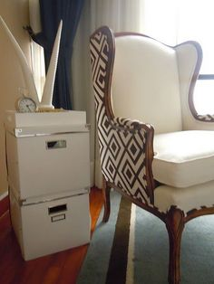 Two fabrics on wingback chair.