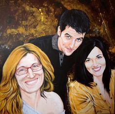 Triple retrato en acrílico sobre lienzo
