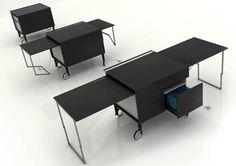 42 Fancy Desks For Your Office Home Office, Office Table, Space Saving Desk, Mobile Office, Spa Design, Furniture Design, Fancy, Furnitures, Interview