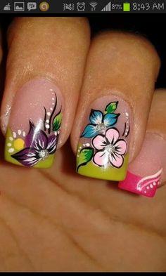 NailsArt French Nail Designs, Cool Nail Designs, Classy Nails, Cute Nails, Hair And Nails, My Nails, Summer Toe Nails, Basic Nails, Flower Nail Art
