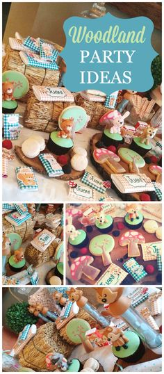 So many cute critters at this party! It has a popular woodland theme! See more party planning ideas at CatchMyParty.com!