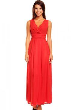 Kartes moda KM150 sukienka czerwona Niezwykle elegancka sukienka, kobiecy fason, szerokie ramiączka