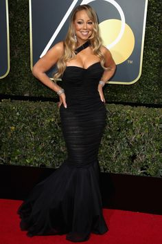 Mariah Carey Is a Glam Goddess on the Red Carpet at Golden Globes Photo Mariah Carey looks absolutely divine on the red carpet at the 2018 Golden Globe Awards held at the Beverly Hilton Hotel on Sunday (January in Beverly Hills, Calif. Black Dress Red Carpet, Red Carpet Looks, Dress Black, Dolce & Gabbana, Black Mermaid Dress, Mariah Carey Photos, Belle Silhouette, Wearing All Black, Celebrity Look