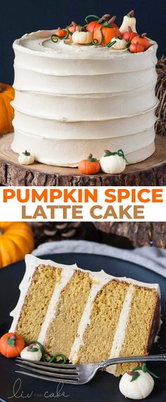 SPICE LäTTE CäKE This Pumpkin Spice Latte Cake is your favorite Fall beverage in cake form! Pumpkin spice flavoured cake with an espresso buttercream. Best Thanksgiving Recipes, Thanksgiving Cakes, Family Thanksgiving, Thanksgiving Baking, Fall Baking, Just Desserts, Dessert Recipes, Fall Cake Recipes, Spice Cake Recipes