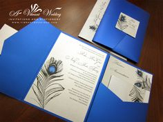 peacock invites for weddings | Royal Blue & Platinum Wedding Invitation With Peacock Feather Design