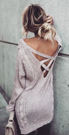 Light Purpal Cut Out Cross Back V Neck Casual Pullover Sweater Dress Mode Outfits, Casual Outfits, Fashion Outfits, Womens Fashion, Fashion Trends, Ladies Fashion, Dress Fashion, Casual Wear, Teen Outfits