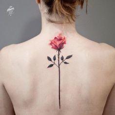 Rose back tattoo - 120 Meaningful Rose Tattoo Designs Spine Tattoos, Love Tattoos, Unique Tattoos, Beautiful Tattoos, Body Art Tattoos, New Tattoos, Hand Tattoos, Tattoos For Guys, Tattoos For Women