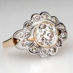 Antique Floral Motif Diamond Engagement Ring Circa 1920's
