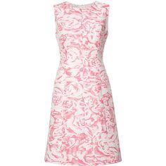 Oscar de la Renta sleeveless floral jacquard dress (2,685 CAD) ❤ liked on Polyvore featuring dresses, floral jacquard dress, pink floral print dress, flower pattern dress, sleeveless floral dress and oscar de la renta dresses