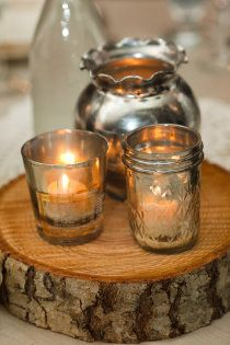 Love the jelly jar candles, and the silver! I can see the silver with babies breath and tiny sunflowers!