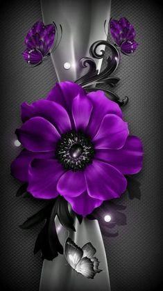 Purple Flowers Wallpaper, Flower Phone Wallpaper, Butterfly Wallpaper, Rose Wallpaper, Cellphone Wallpaper, Colorful Wallpaper, Purple Roses, Wallpaper Backgrounds, Iphone Wallpaper