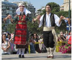 Macedonian dancers perform in front of Thessaloniki's seafront Lefkos Pirgos (White Tower) Greek Traditional Dress, Traditional Outfits, London Summer, The Cheshire, Light My Fire, Alexander The Great, Moldova, Baby Coming, Thessaloniki