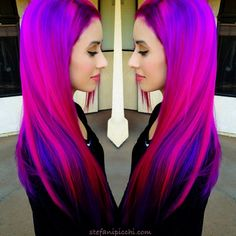 Nadine pink hair, purple hair. Pink and purple bright hair