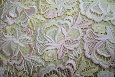 pastel shades Guippure lace fabric yellow by BodikianTextiles