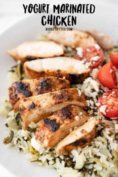 This tangy and garlicky Yogurt Marinated Chicken is full of warm spices and can be served several different ways! BudgetBytes.com Easy Chicken Recipes, Meat Recipes, Cooking Recipes, Healthy Recipes, Chicken Recepies, Dinner Recipes, Turkey Recipes, Free Recipes, Diet