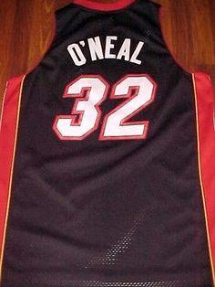 f012e5b7d Reebok NBA Southeast Miami Heat Shaquille O Neal 32 Black Red Swingman  Jersey XL