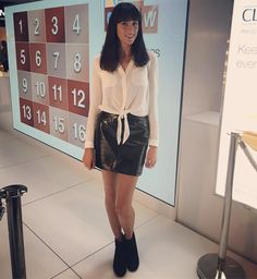 Our Patent Mini Skirt, as featured by @HelenShepherd1 on Instagram. Click the image to shop the look. #oasisfashion