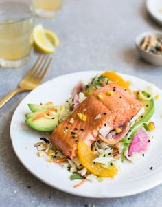Delicious citrus glazed salmon over a crunchy Asian-Cashew salad for a light and healthy summer meal. | www.8thandlake.com