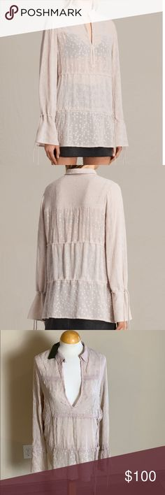 NWT all saints Abelie shirt blouse Brand new never worn with tag. Sheer  worn draw 8e4a23f72