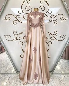 Islam Muslim Champagne Formal Dresses Evening Wear Long Sleeves High Neck A Line Vintage Lace 2018 Plus Size Arabic Kaftan Prom Party Dress Evening Dresses Evening Gowns. Plus Size Prom Dresses, Trendy Dresses, Sexy Dresses, Vintage Dresses, Nice Dresses, Short Dresses, Dresses With Sleeves, Dress Long, Vintage Lace