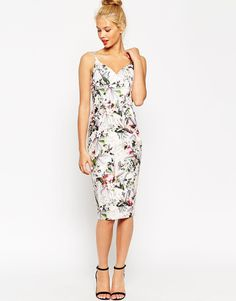 Image 1 ofASOS Hitchcock Pencil Dress In Dusty Pink Floral