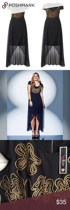 High Low Maxi Dress LOVEDROBE for SIMPLY BE / High Low Tulip Hem Embellished Maxi Dress US PLUS SIZE 28 - Black with gold cornelli trim detailing on bodice - Black sheer high-low maxi skirt with tulip opening in front {black short skirt lined underneath} - Empire silhouette draws in waistline - Gold back zipper / cap sleeves  - Bodice: 95% Polyester, 5% Elastane / Skirt & Lining: 100% Polyester ✅ NWT- brand new, never worn ✅ NO trades / NO low-balling ✅ List price is fair and highly…