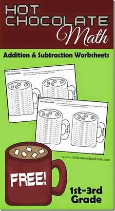 FREE Hot Chocolate Math Addition and Subtraction Worksheets (instant download)