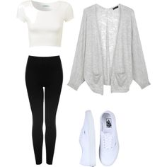 Tight white crop top with black pants a gray cardigan and white vans. i pretty much have this outfit but its super cute College Outfits, Outfits For Teens, Casual Outfits, Grunge Outfits, Middle School Outfits, Mode Outfits, Fashion Outfits, Fashion Styles, Fall Winter Outfits