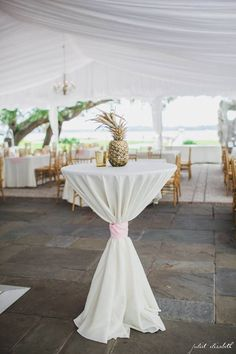 Cocktail Hour with light pink bows and golden pineapple decor. Cocktail Wedding Reception, Outdoor Wedding Reception, Tiki Wedding, Wedding Night, Cocktail Table Decor, Cocktail Tables, Reception Decorations, Event Decor, Table Decorations