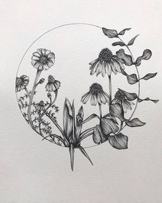 This circle of flowers includes: Eucalyptus, Cone Flowers, and Crocus. Mix and match with other prints in the shop to create a botanical gallery wall. Details: - 8x10 inches - Watercolor Cold-pressed paper - Signed on back Shipped in a recycled clear sleeve and recycled rigid mailer #TattooIdeasWatercolor