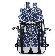 Man Fashion Trendy Graffiti Printing Canvas Backpack Travel School Preppy Bag