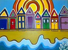 Beach Huts in The Sun Acrylic on Canvas