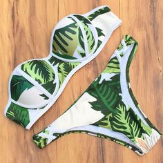 bikini set Palm tree print push up steel wire cup strapless tube topl swimwear swimsuit